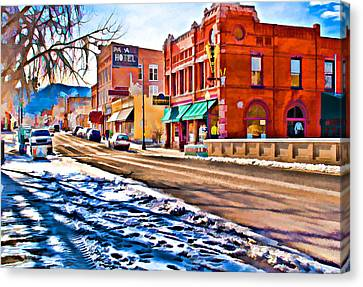 Downtown Salida Hotels Canvas Print by Charles Muhle