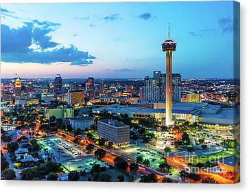 Downtown San Antonio At Twilight Pano Canvas Print