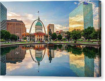 Downtown St. Louis Skyline Morning Sunrise Reflections Canvas Print