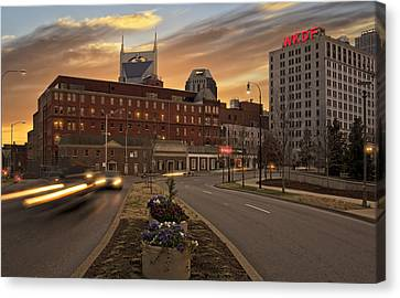 Downtown Nashville Canvas Print - Downtown Sunset by Steven Michael