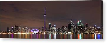Canvas Print featuring the photograph Downtown Toronto - Lit Up by Anthony Rego