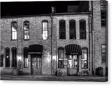 Downtown Toy And The Celtic Shop In Black And White Canvas Print by Greg Mimbs