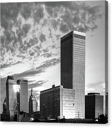 Downtown Tulsa Skyline Squared In Black And White Canvas Print