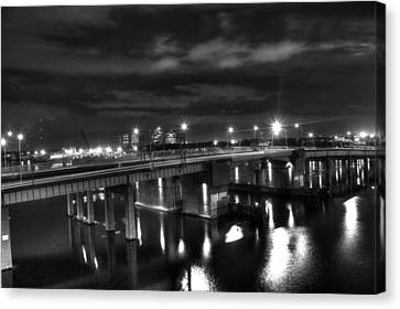 Landscape. Of City At Night And A Bridge Canvas Print - Downtown Tunnel Bridge Black And White by Shannon Louder