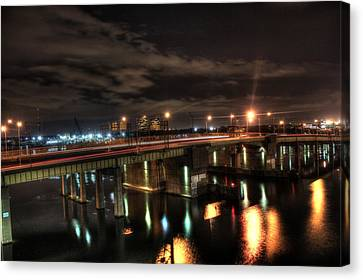 Landscape. Of City At Night And A Bridge Canvas Print - Downtown Tunnel Bridge by Shannon Louder