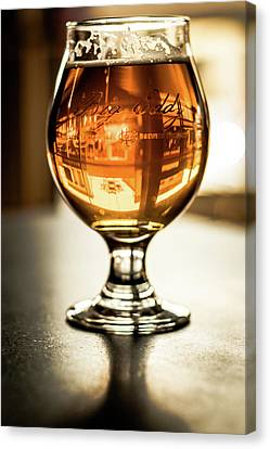 Downtown Waukesha Through A Glass Of Beer At Bernie's Taproom Canvas Print