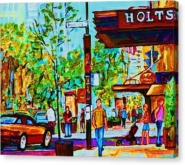 Downtowns Popping Canvas Print by Carole Spandau