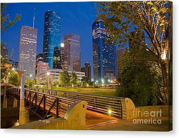 Dowtown Houston By Night Canvas Print by Olivier Steiner