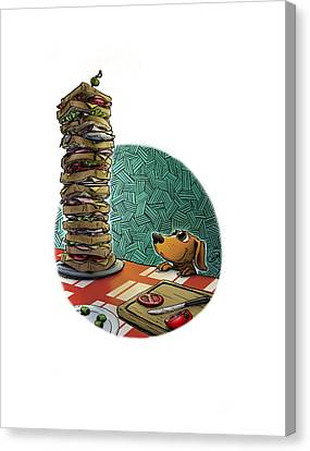 Doxie Vs Dagwood Canvas Print by Brian Ashby