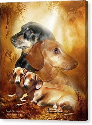 Dachshund Art Canvas Print - Doxies - Dappled In Sunshine by Carol Cavalaris
