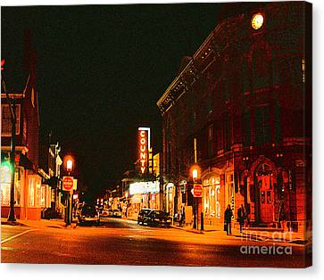 Doylestown-county Theater At Night Canvas Print by Addie Hocynec