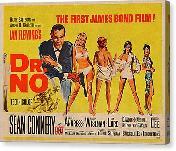 Movie Poster Canvas Print - Dr No James Bond Sean Connery Vintage Movie Poster by Design Turnpike