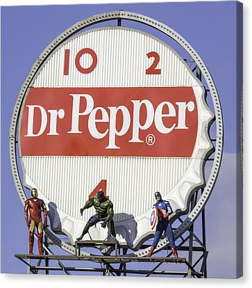 Dr Pepper And The Avengers Squared Canvas Print by Keith Mucha