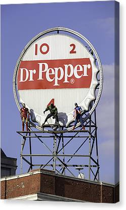 Dr Pepper And The Avengers Canvas Print by Teresa Mucha