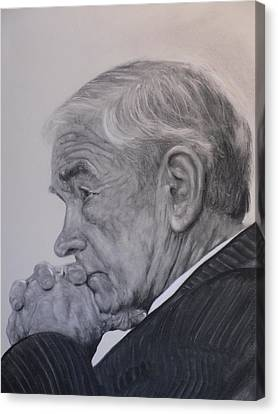 Dr. Ron Paul, Pensive Canvas Print by Adrienne Martino