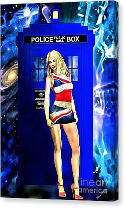 Doctor Who - Tardis And Rose Tyler Canvas Print