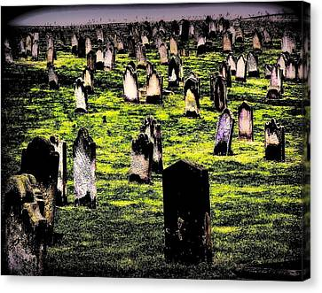 Dracula Cemetery In Whitby England Canvas Print by Jen White