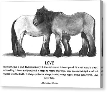 Draft Horses With Bible Verse About Love Canvas Print by Joyce Geleynse