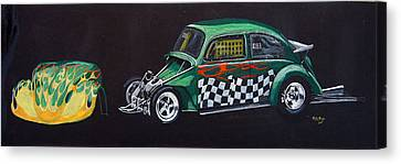 Canvas Print featuring the painting Drag Racing Vw by Richard Le Page