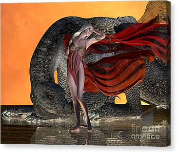 Breathing Canvas Print - Dragon And Fairy by Corey Ford