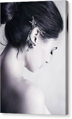 Girl Profile Canvas Print - Dragon by Cambion Art