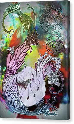 Painted Details Canvas Print - Dragon Clashing by Walter Idema