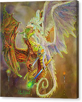 Canvas Print featuring the painting Dragon Dancers by Steve Roberts