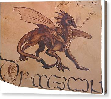 Dragon Detail On Ancient Celtic Map Canvas Print by Marsha Wilson