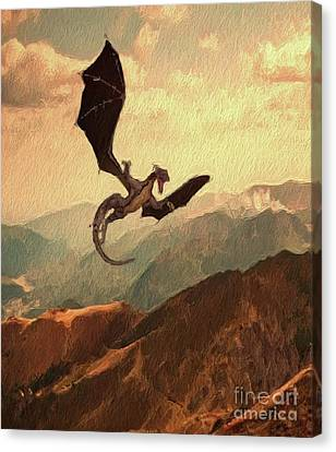 Dragon Fly Canvas Print - Dragon In Flight by Mary Bassett