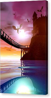 Manor Canvas Print - Dragon Manor by Cynthia Decker