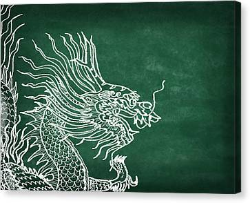 Dragon On Chalkboard Canvas Print