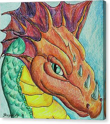 Canvas Print featuring the drawing Dragon Portrait by Yulia Kazansky