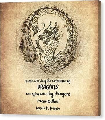 Dragon Quote Canvas Print by Taylan Apukovska