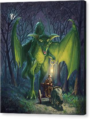 Canvas Print featuring the digital art Dragon Walking With Lamp Fantasy by Martin Davey