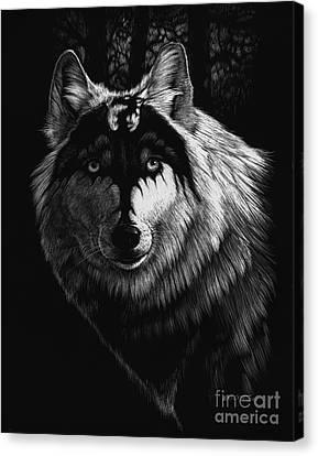 Fantasy Canvas Print - Dragon Wolf by Stanley Morrison