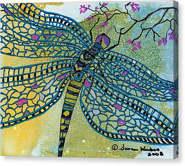 Dragonfly And Cherry Blossoms Canvas Print