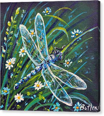 Dragonfly And Daisies Canvas Print by Gail Butler