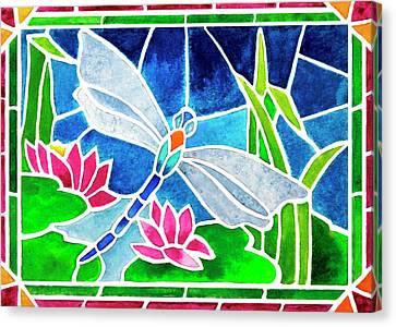 Dragonfly And Water Lilies In Stained Glass 2 Canvas Print by Janis Grau