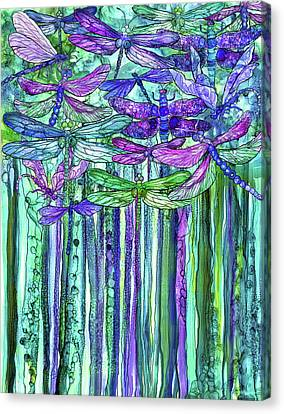 Canvas Print featuring the mixed media Dragonfly Bloomies 1 - Purple by Carol Cavalaris