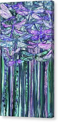 Canvas Print featuring the mixed media Dragonfly Bloomies 2 - Lavender Teal by Carol Cavalaris