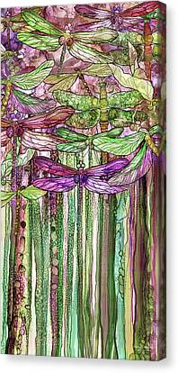 Canvas Print featuring the mixed media Dragonfly Bloomies 2 - Pink by Carol Cavalaris