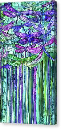 Canvas Print featuring the mixed media Dragonfly Bloomies 2 - Purple by Carol Cavalaris