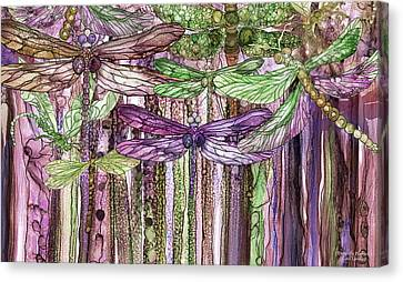 Canvas Print featuring the mixed media Dragonfly Bloomies 3 - Pink by Carol Cavalaris