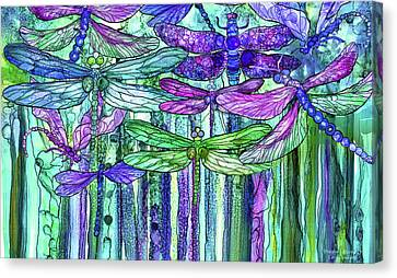 Canvas Print featuring the mixed media Dragonfly Bloomies 3 - Purple by Carol Cavalaris