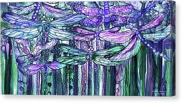Canvas Print featuring the mixed media Dragonfly Bloomies 4 - Lavender Teal by Carol Cavalaris