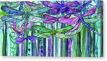 Canvas Print featuring the mixed media Dragonfly Bloomies 4 - Purple by Carol Cavalaris