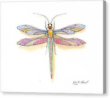 Canvas Print featuring the painting Dragonfly by John Norman Stewart