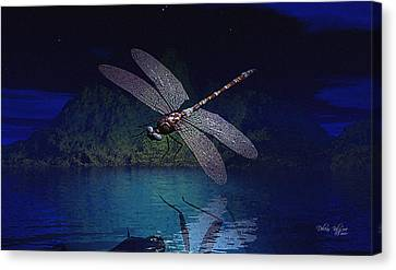 Dragonfly Night Reflections Canvas Print