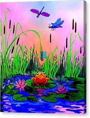 Dragonfly Pond Sunset Canvas Print