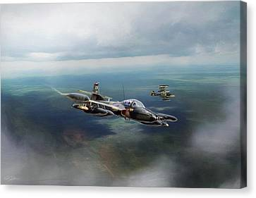 Canvas Print featuring the digital art Dragonfly Special Operations by Peter Chilelli